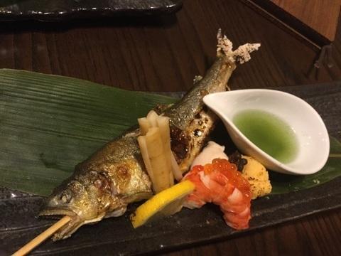 小田急相模原日本料理魚酔庭鮎の塩焼き